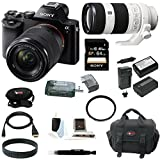 Sony ILCE7K/B 24.3 MP a7K Full-Frame Interchangeable Digital Lens Camera with 28-70mm Lens plus Sony FE 70-200mm F4 G OIS Interchangeable Lens, Sony 64GB SD card, Focus DSLR System camera bag, Deluxe Accessory Kit