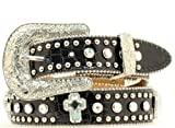 Nocona Girl's Nailhead Edges Cross Conchos Belt, Black, 28