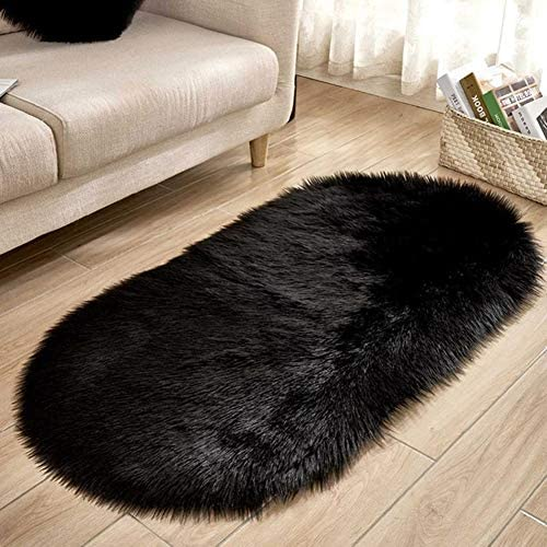 myonly Soft Shag Area Rugs Living Room Faux Fur Wool Oval Bedroom Carpet Mat Rug Fluffy Kids Chirldren Play Rug Mat Home Decorate Floor 2 Feet by 4 Feet Black
