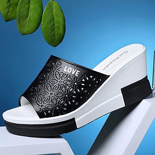 mode pantoufles femmes pour noir été pantoufles 8 et lâches coréenne 34 nouvelles XIE 10 sandales version Noir us5 PU uk3 41 gâteaux épais TIANYINI blanc 2018 fond la de sauvages 8xqYwOUq0