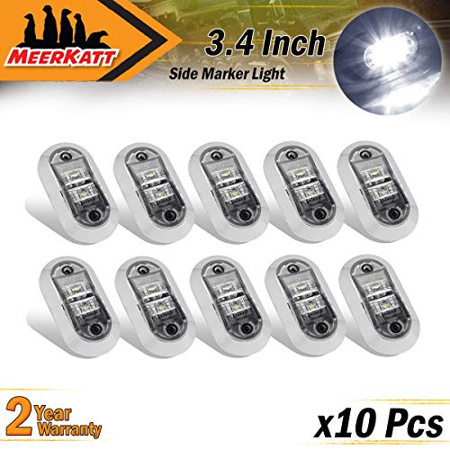 """Meerkatt (Pack of 10) 2.5"""" Inch Oval White Clearance Lights Side Marker 2 LEDs Waterproof Surface Mount Chrome Bezel Universal Trailer Car Truck Lorry Bus Tow Multi-Volt 10-30V DC Sealed Bulb LM-CHS"""