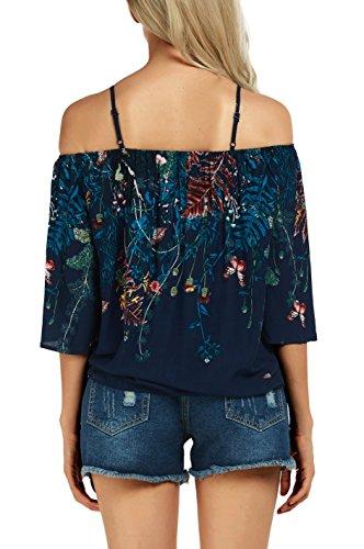 Maglietta Camicia Tops 2 Urban Camicetta Spaghetti Off Goco Shoulder Donna Boho Strap qwCtvHCInx