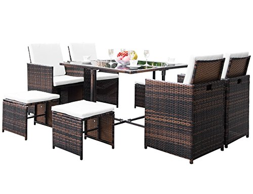 Civil 9 Piece Outdoor Patio Furniture Wicker Rattan Dining Table Set with Cushions for Garden Lawn Pool Backyard, Brown ()
