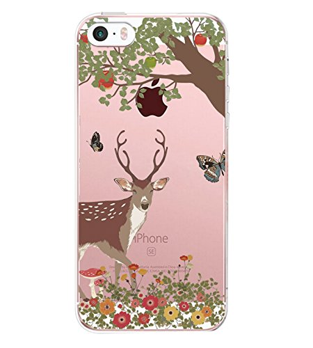 Qissy iPhone5s Case iPhone 5 Case Penguin Sika deer giraffe tree Clear Design Transparent TPU Cover for iPhone 5/5S (4)