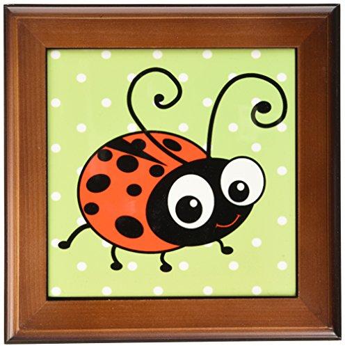 3dRose ft_113183_1 Cute Ladybug Green Polka Dot Design-Kawaii Happy Red and Black Spots Ladybird Cartoon Lady Bug-Framed Tile, 8 by (Ladybug Framed Tile)