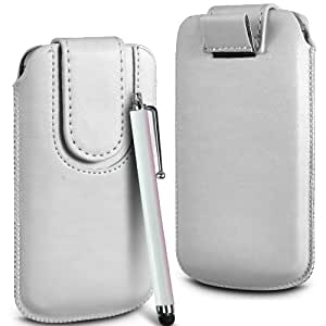 N4U Online Premium PU tirón del cuero del tirón del caso Tab cubierta de bolsa Con magnética Cierre de correa y alta sensibilidad Stylus Pen para Samsung Galaxy Y S5360 - Blanco