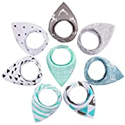 Baby Bandana Drool Bibs for Drooling and Teething, Highly Absorbent Soft 100% Organic Cotton with Adjustable Snaps, 8 Pack, Excellent Baby Shower / Registry Gift