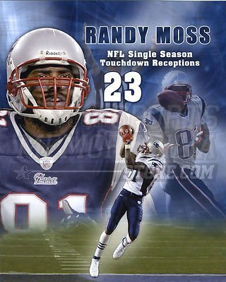 Photograph Touchdown Record - Randy Moss New England Patriots 23 touchdown record 8x10 11x14 16x20 photo 549 - Size 8x10