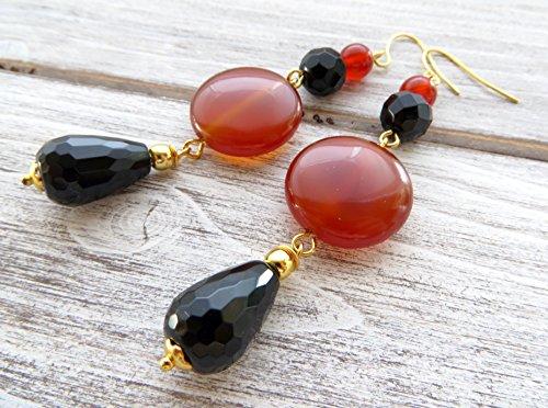 Orange agate earrings, black onyx earrings, natural gemstone earrings, long drop earrings, statement jewelry, contemporary jewelry
