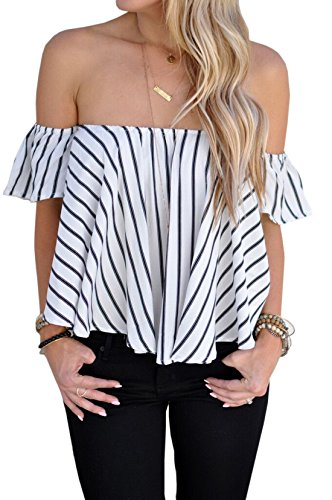 Relipop Women's Sexy Off Shoulder Tops Stripe Shirt Casual Blouse