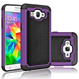 Samsung Galaxy Grand Prime SM-G530H G530W Rugged Impact Heavy Duty Dual Layer Shock Proof Case Cover Skin - Purple
