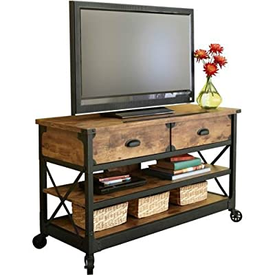 """3 Piece Rustic Antiqued Look Country Entertainment Center, for TVs up to 52"""" and Media Storage Cabinets"""