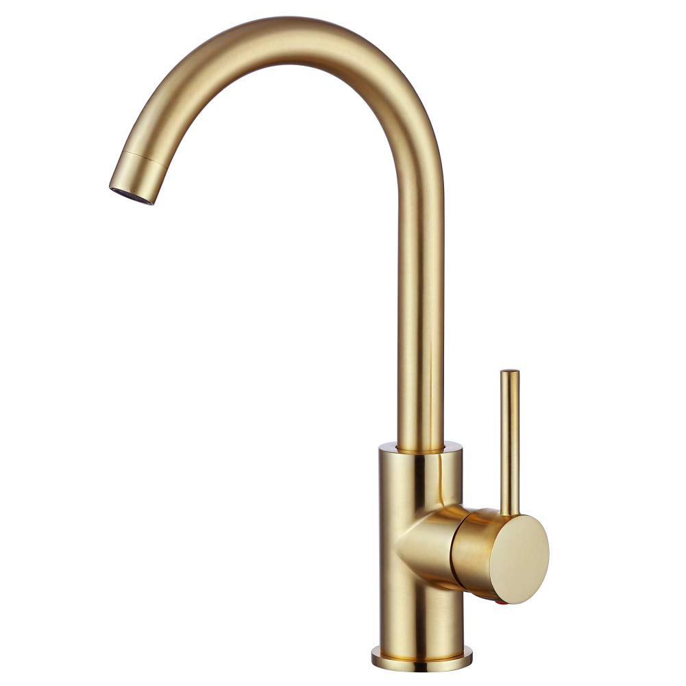 Gold Kitchen Faucet, Brushed Gold Single Handle Sink Faucet- 360 Degree Swivel Hot and Cold Mixer