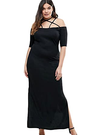 Sexy Black Strap Detail Plus Maxi Dress With Side Slits Summer Night