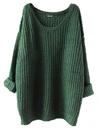 Forever Women Oversized Knitted Sweater Batwing Sleeve Tops Loose Outwear Coat Pullover Green  One Size