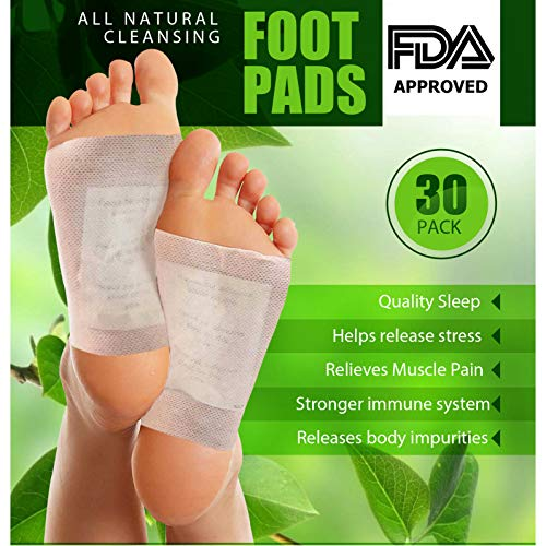 Cleansing and Absorbent Foot Pads, 30 Pack, Anti-Stress Relief, Non-Invasive, Easy-to-Use Foot Care, Works Through Soles of Feet While You Sleep, 100% Organic Natural Ingredients, Pesco-Vegetarian