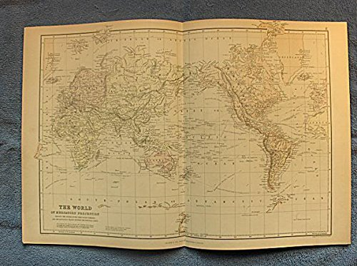 The World on Mercator's Projection - single original antique chromolithographed map from
