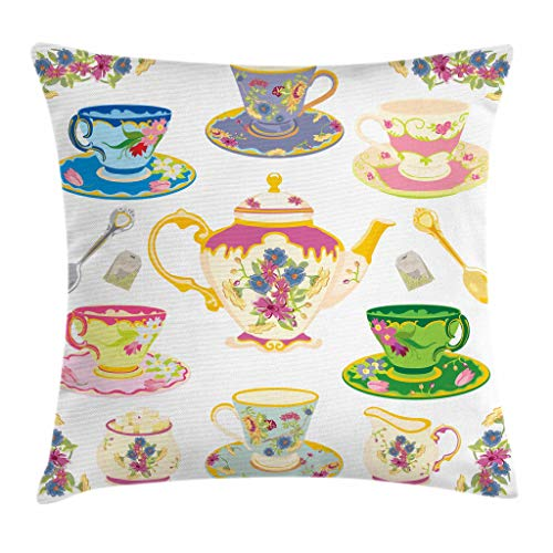Ambesonne Tea Party Throw Pillow Cushion Cover, Selection of Vivid Colored Teacups Pot Sugar and Floral Arrangements in Corners, Decorative Square Accent Pillow Case, 28