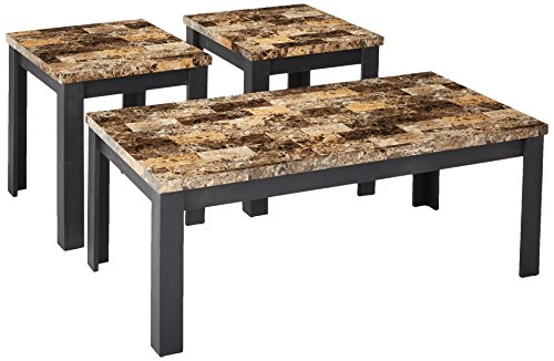 3 Piece Finely Coffee/End Table Set, Dark Brown Faux Marble & Black ()
