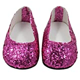 Prevently New Cute Glitter Doll Shoes Dress Shoe For 18 Inch Our Generation American Girl Doll Accessories (Hot Pink)