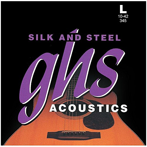 GHS Strings 345 Silk And Steel, Silver-Plated Copper Acoustic Guitar Strings, Light (.010-.042) (Daddario Guitar Silver Strings)
