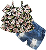 Mud Kingdom Little Girls Denim Short Outfit Off Shoulder Cute Summer