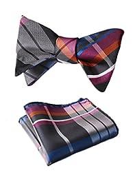 HISDERN Men's Plaid Check Jacquard Wedding Party Self Bow Tie & Pocket Square Set