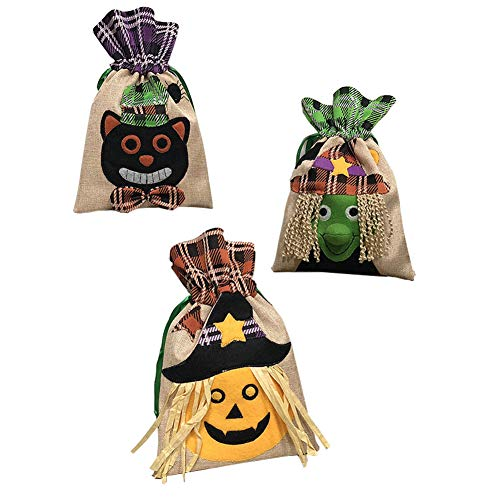 Halloween Canvas Candy Goody Bags Totes Trick Or Treat Party Favor 6.30 * 10.43inch Ghosts and Corn Drawstring Pumpkin Costume Gifts Bag Set of 3 (3 Pack)