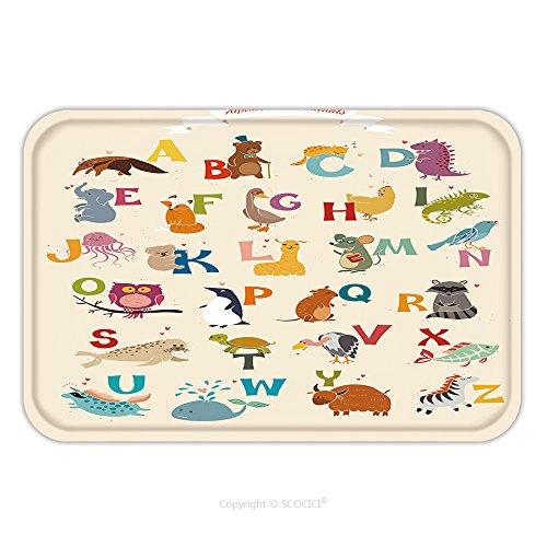 Flannel Microfiber Non-slip Rubber Backing Soft Absorbent Doormat Mat Rug Carpet Alphabet Animal Vector Set Illustration Education For Children Preschool Cute Poster Hand 255745114 for Indoor/Outdoor/