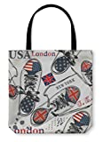 Gear New Shoulder Tote Hand Bag, Fashion Pattern With Sports Boots Decorated By British, 18x18, 818579GN