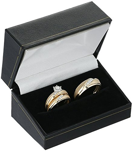 10k Yellow Gold Diamond Trio Wedding Ring Set (1/3cttw, I J Color, I2 I3 Clarity)