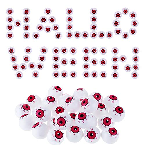 Jovitec 30 Pieces Hollow Plastic Eyeballs Halloween Eyeball Toys Ping Pong Eyeball for Cosplay Haunted House Party Favor (Red) -
