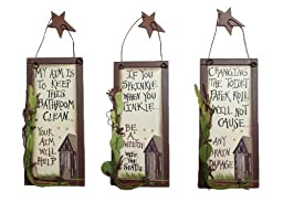 Outhouse Etiquette Bathroom Signs (Set of 3)