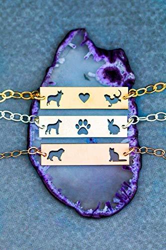 - Personalized Two Pet Bracelet - IBD - Layering Bar Adjustable Dog Lover Gift - 935 Sterling Silver 14K Rose Gold Filled