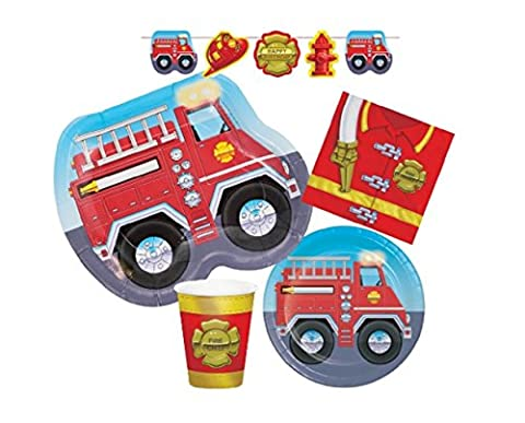 Firefighter Fire Truck Child Birthday Party Pack for 8 Guests - Bundle includes 5 Items: Dinner Plates, Dessert Plates, Cups, Napkins & Party (Fire Chief Birthday)