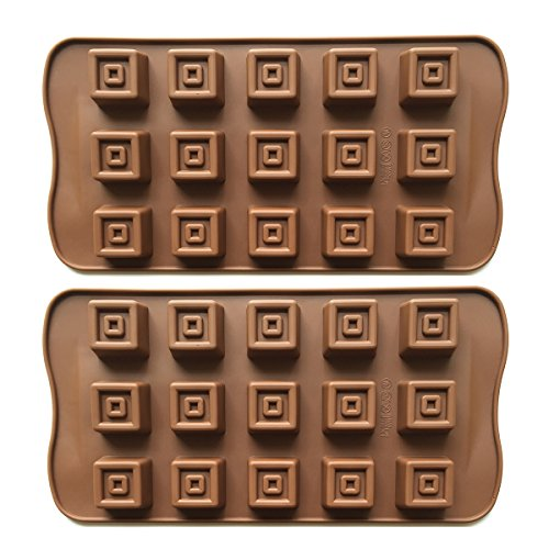 2pcs 15-Cavity Silicone Squares Chocolate Molds for Baking, Candy, Cookies, Ice Cube, Crafting