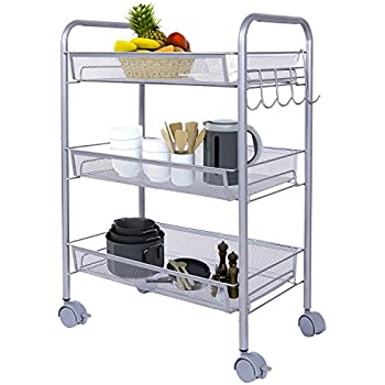 Lifewit 3 Tier Storage Cart Multifunction Rolling Cart Wire Rack Metal Mesh  Shelf Trolley With