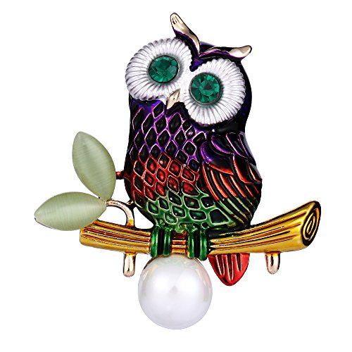 Adorable Vintage Enamel - EVER FAITH Austrian Crystal Simulated Pearl Enamel Adorable Owl Bird on Branch Purple Gold-Tone