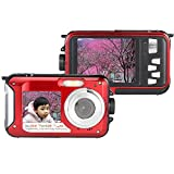 Ansee 24MP Waterproof Digital Camera Dual Screen Diving Sports Cam 16X Zoom 1920x1080 Full HD Camera Mini Superior Video Camcorder with Smile Capture Anti-shake Function Red