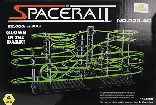 Little Treasures 233-4g Space Rail, Glow in the dark, Level 4 Marble Roller Coaster Kit with Steel Balls, Glow, Space warp, Great Educational Toy for Boys and Girls, 22,000 mm by Little Treasures
