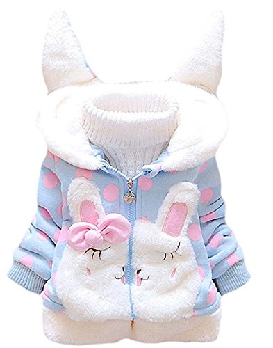 (Garsumiss Baby Girl Jacket Thick Winter Hoodie Rabbit Bunny Coat Toddler Outerwear Blue)