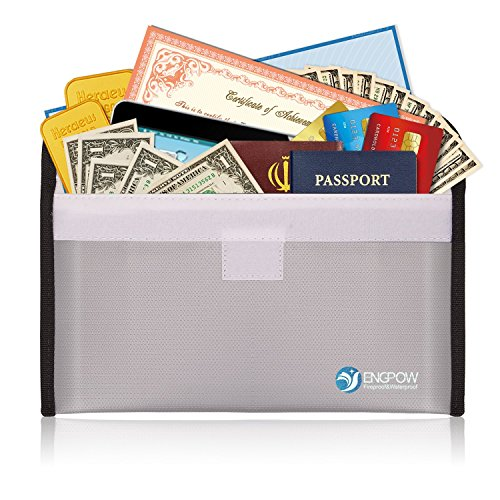 "Fireproof Money Bag for Cash 10.2""x6""Non-Itchy Silicone for File Holder, Passport,Jewelry, Important Documents,7-8 inch Sleeve Bag Gray"
