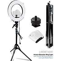 LimoStudio 12 Ring Light Dimmable Fluorescent Continuous Lighting Kit 5500K Photography Photo Studio Light Stands with Carrying Case, AGG1773V3