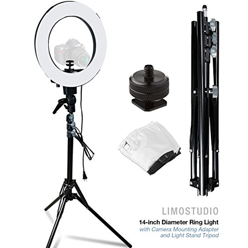LimoStudio 14-inch Diameter Ring Light Continuous Round Ring Lighting Kit, 5500K Photography Photo Studio Light Stand, AGG1773V4 (Stellar Lighting Systems)
