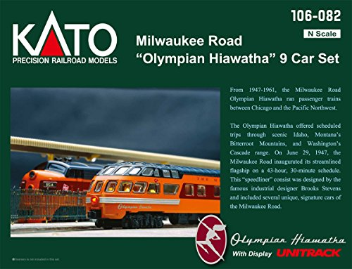 Kato USA Model Train Products N Milwaukee Road Olympian Hiawatha 9-Car Set Passenger Car Set from Kato USA Model Train Products