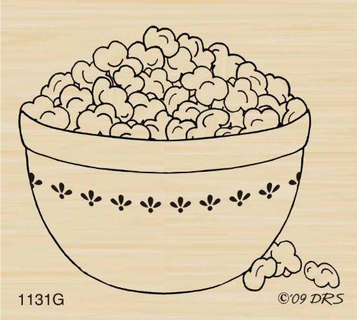 (Bowl of Popcorn Rubber Stamp By DRS Designs)