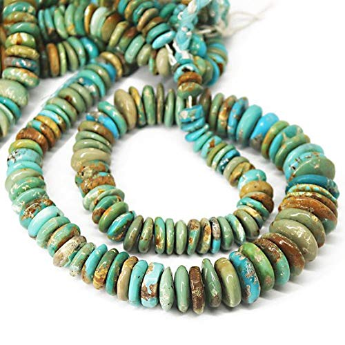 Beads Bazar Natural Beautiful jewellery Natural Himalayan Turquoise Smooth Rondelle Tyre Wheel Micro Craft Loose Beads Strand 15