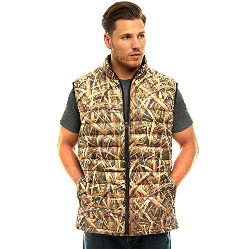 Vest Down Hunting (TrailCrest Men's Packable Ultra Lightweight Down Vest, Outdoor Puffer Vest, Mossy Oak Shadow Grass Blades Camo)