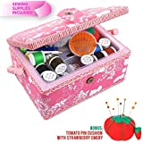 SewKit | Large Sewing Basket Organizer with Complete Sewing Kit Accessories Included | Wooden Sewing Basket Kit with Removable Tray and Tomato Pincushion for Sewing Mending | Pink | 220.20