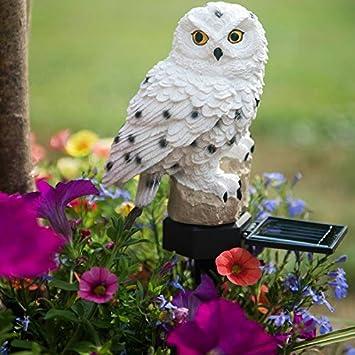 Evelots White Owl Solar LED Lawn U0026 Garden Light, Keep Birds U0026 Squirrels Away
